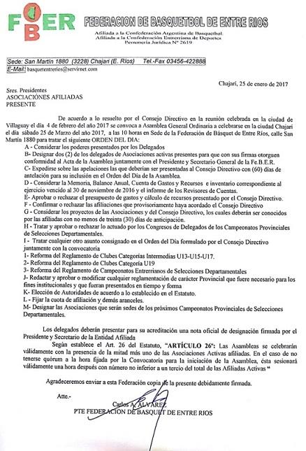 CONVOCATORIA A ASAMBLEA – CHAJARÍ, 25 DE MARZO